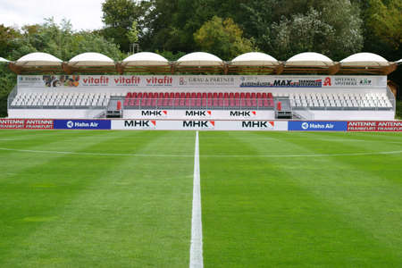 Dreieich, Germany - September 09, 2017: The covered grandstand of the Hahn Air sports park with advertising boards and banners on September 09, 2017 in Dreieich.
