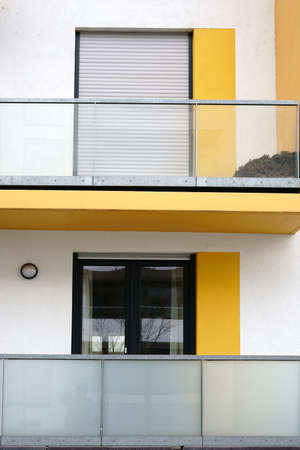 The new and modern balconies of an apartment and multi-family house.