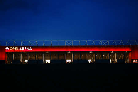Mainz, Germany - April 01, 2018: The brightly lit Opel Arena of the football club 1. FSV Mainz 05 on the night of April 01, 2018 in Mainz. Editorial