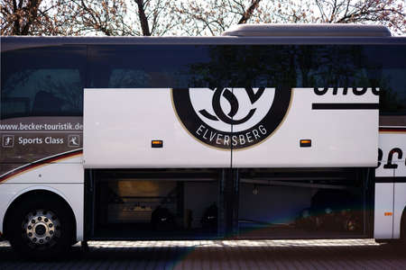 Mainz, Germany - April 14, 2018: The SV Elversberg team bus in the away game of the B-Juniors Bundesliga Southwest on April 14, 2018 in Mainz.