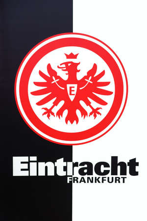 Frankfurt, Germany - August 11, 2018: The coat of arms of the sports club Eintracht Frankfurt in black and white with a red eagle on August 11, 2018 in Frankfurt. Éditoriale