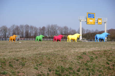 Colorful bulls stand at the roadside of a road gyre in Pirmasens.