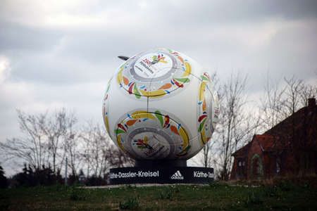 Pirmasens, Germany - March 26, 2019: A ball as a modern sculpture at the Kaethe-Dassler-roundabout on the Husterhoehe on March 26, 2019 in Pirmasens.