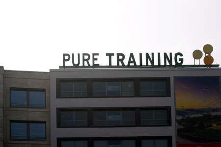 Frankfurt, Germany - March 24, 2019: The Pure Training fitness center in a residential and commercial building at the Konstablerwache on March 24, 2019 in Frankfurt.