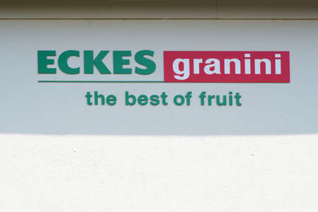 Nieder-Olm, Germany - May 26, 2019: The logo of the beverage manufacturer Eckes Granini GmbH at bussines building on the roof on May 26, 2019 in Nieder-Olm.