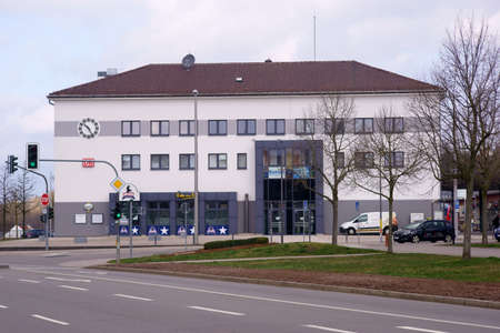 Pirmasens, Germany - March 26, 2019: The bright and modern building of Pirmasens station with parking spaces and infrastructure on March 26, 2019 in Pirmasens.