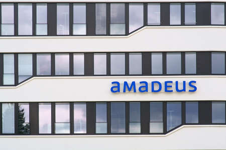Bad Homburg, Germany - June 09, 2019: The logo of the company Amadeus Germany GmbH on the facade of a business building on June 09, 2019 in Bad Homburg.