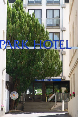 Bad Homburg, Germany - June 09, 2019: The entrance of the 4-star Park Hotel am Kurpark on June 09, 2019 in Bad Homburg.