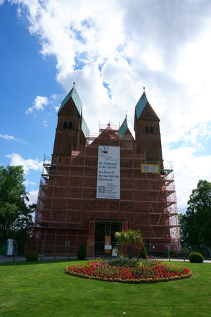 Bad Homburg, Germany - June 09, 2019: The restoration of the Church of the Redeemer with placards for fundraising on 09 June 2019 in Bad Homburg.