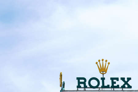 Frankfurt, Germany - July 06, 2019: The Rolex on the roof of a business building on July 06, 2019 in Frankfurt. Editorial