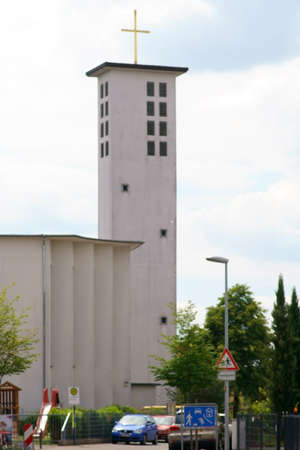 The modern tower of the Christ the King church in Erlensee.