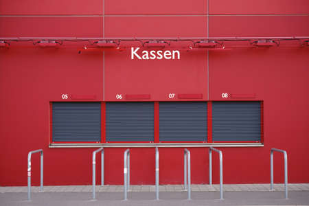Mainz, Germany - August 20, 2017: Closed ticket booth at the Opelarena of the 1. FSV Mainz 05 on August 20, 2017 in Mainz.