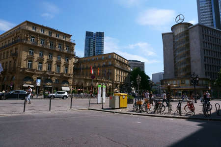 Frankfurt, Germany - July 06, 2019: The Imperial Square in the city center with the Hotel Steigenberger Frankfurter Hof as well as shops and commercial buildings on 06 July 2019 in Frankfurt. Sajtókép