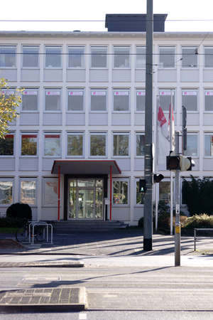 Darmstadt, Germany - October 31, 2017: The entrance as well as the office and commercial building of IG Metall a German industrial union on October 31, 2017 in Darmstadt. Sajtókép