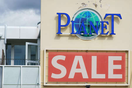Taunusstein-Wehen, Germany - August 18, 2019: The logo of Planet Fashions World a department store on August 18, 2019 in Taunusstein-Wehen.