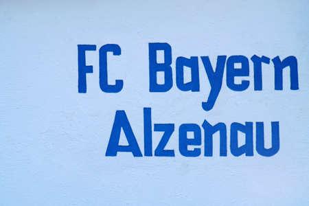 Alzenau, Germany - August 24, 2019: The logo of the football club FC Bayern Alzenau at a club building on August 24, 2019 in Alzenau.