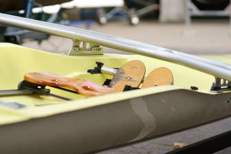 The close-up of a rowing boats seats in rowing sport. Stockfoto