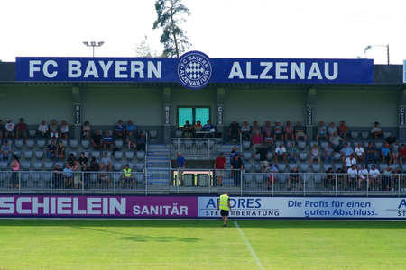Alzenau, Germany - August 24, 2019: The grandstand of the sports center at the home of the football regionalist FC Bayern Alzenau a football club on August 24, 2019 in Alzenau.
