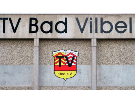 Bad Vilbel, Germany - September 08, 2019: TV Bad Vilbel on a concrete facade of the club house on September 08, 2019 in Bad Vilbel.