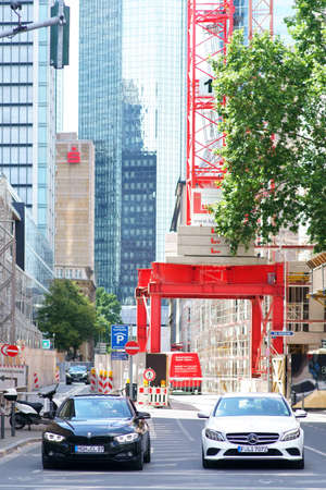 Frankfurt, Germany - July 06, 2019: A construction site between a canyon street in the city center on 06 July 06, 2019 in Frankfurt.