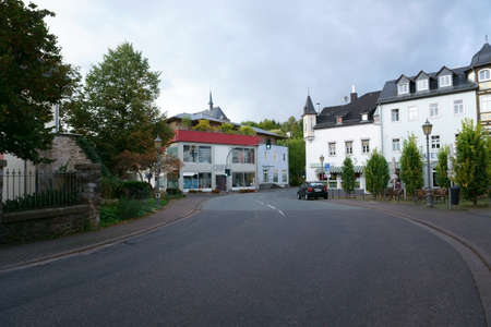 Hadamar, Germany - September 28, 2019: A street turn with restaurants and shops on September 28, 2019 in Hadamar.