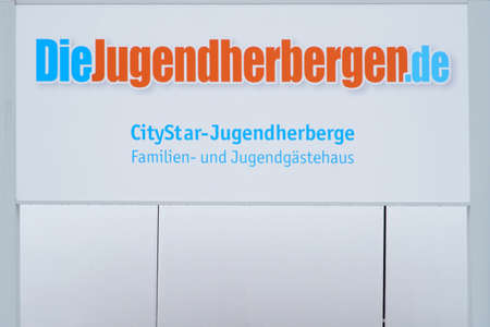 Pirmasens, Germany - October 05, 2019: The entrance sign of the City-Star Youth Hostel with logo on October 05, 2019 in Pirmasens. 新聞圖片