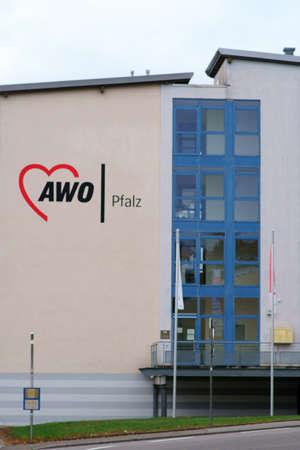 Pirmasens, Germany - October 05, 2019: The logo of Arbeiterwohlfahrt a German charity association on October 05, 2019 in Pirmasens.