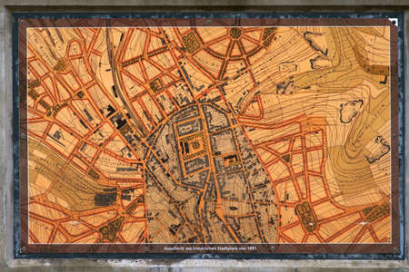 Pirmasens, Germany - October 05, 2019: The true-to-scale historical city map of the city of Pirmasens with streets, city walls and historic buildings on October 05, 2019 in Pirmasens 新聞圖片
