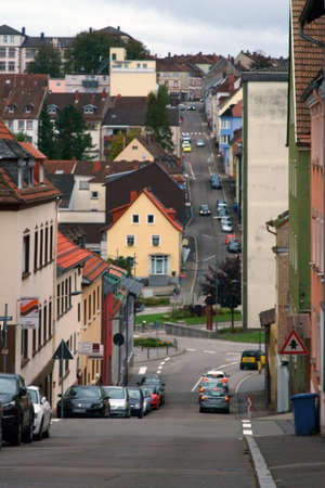 Pirmasens, Germany - October 05, 2019: A road leads down to a valley at the city center on October 05, 2019 in Pirmasens. Editorial