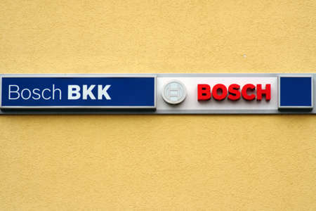 Homburg, Germany - October 19, 2019: The logo of the Bosch BKK health insurance company on the facade of an office and commercial building on 19 October 19, 2019 in Homburg.