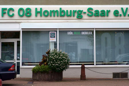 Homburg, Germany - October 19, 2019: The exterior facade of the office of the football club FC 08 Homburg-Saar e.V. with logo on October 19, 2019 in Homburg.