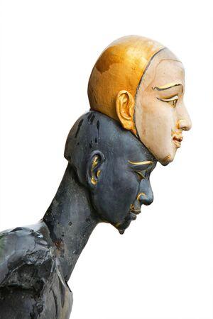 khon: Statue of khon on white background