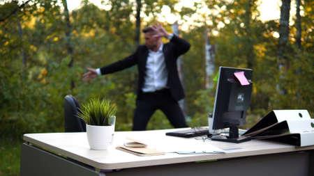 Officeworker is training on a fresh air Stok Fotoğraf
