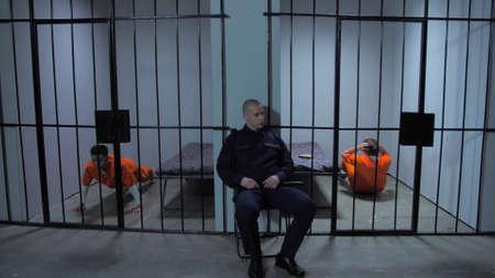 Prisoners do sports in prison cells