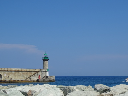 lighthouse entrance of the port of bastia 'corsica