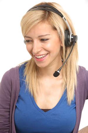 Girl answering customer care Standard-Bild