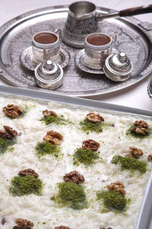 Gullaç dessert  and coffee for Ramadan holidays Standard-Bild