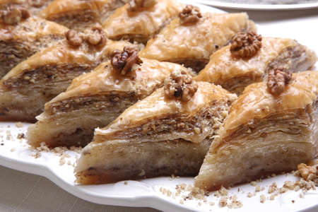 turkish dessert: Close up of special Baklava preparation with 80 layer Stock Photo