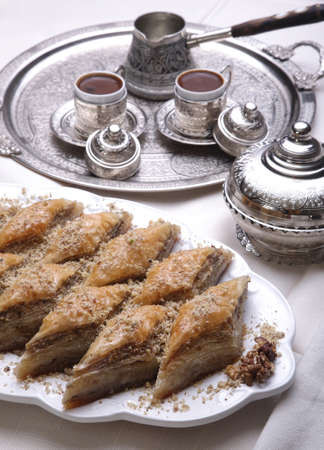 turkish ethnicity: Ramadan dessert: Baklava and turkish coffee Stock Photo