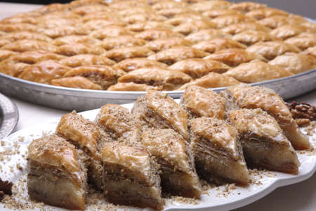 Close up of dish of  Baklava on a table