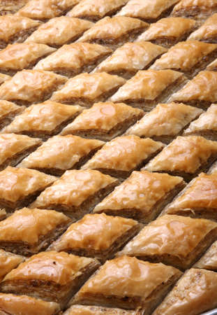 turkish dessert: Cutted Baklava in row ready to be served Stock Photo