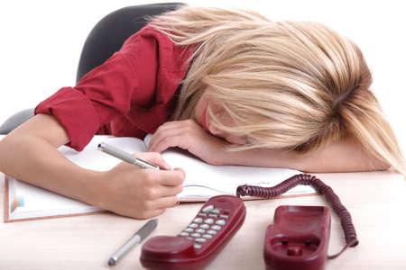 Blond office girl sleeping photo