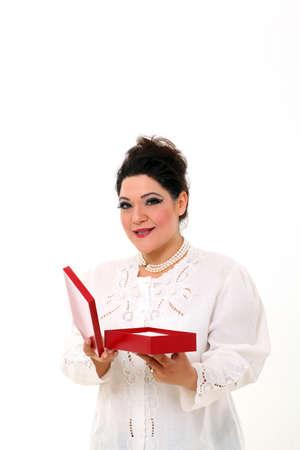 box size: Elegant plus size woman with a gift box