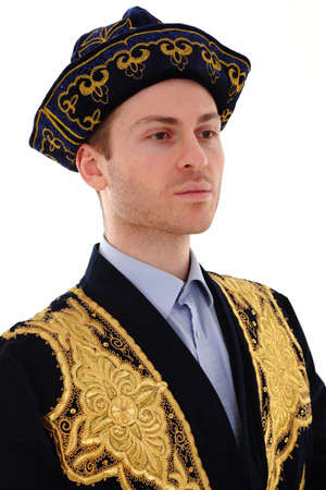 caftan: Young adult man with Kazakhstan costume