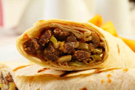 Fresh dorum doner kebab with french fries