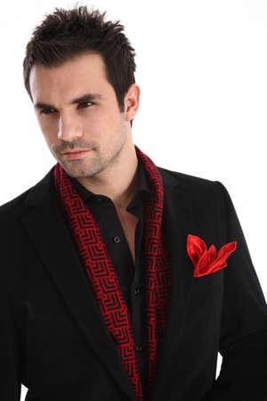 Elegant handsome man on white background in suit