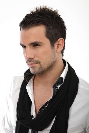 handome: Portrait of handome man with shirt and scarf