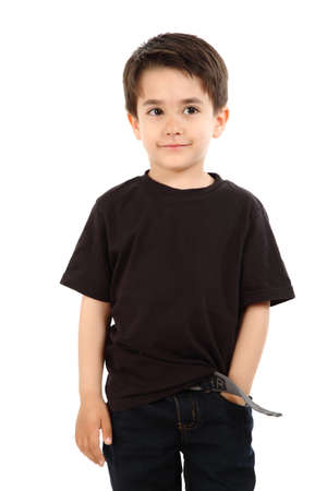 Young boy in studio with black shirt and jeans