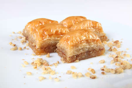 sweet course: Typical turkish dessert Baklava with walnuts Stock Photo