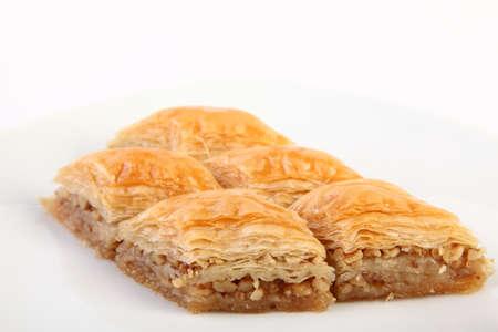 turkish dessert: Typical turkish dessert Baklava with walnuts Stock Photo